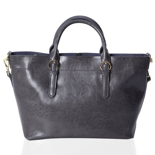 Limited Edition- One Time Deal- 100% Genuine Leather  Grey Colour Tote Bag with Removable Shoulder Strap (Size 38x32x24x13 Cm)