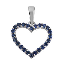 RHAPSODY 950 Platinum AAAA Royal Ceylon Sapphire Open Heart Pendant 0.50 Ct.