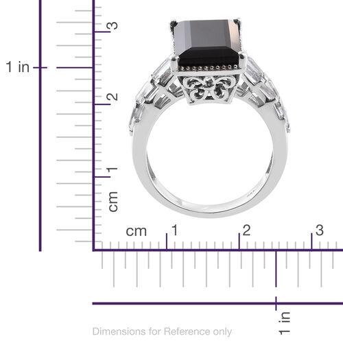 Black Tourmaline (Bgt 12.30 Ct), White Topaz Ring in Platinum Overlay Sterling Silver 13.750 Ct.
