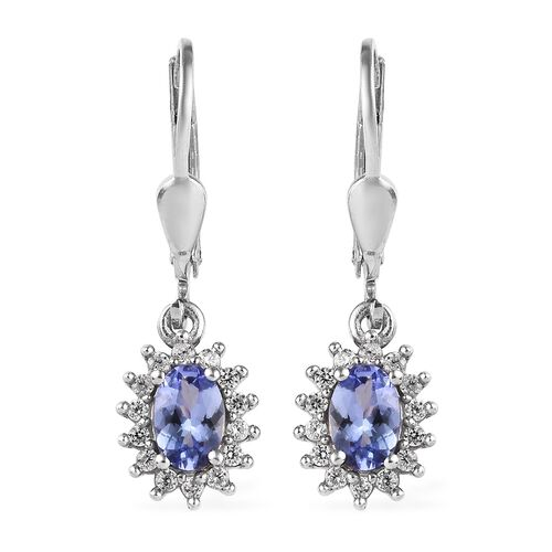 Tanzanite (Ovl), Natural Cambodian Zircon Lever Back Earrings in Platinum Overlay Sterling Silver 1.