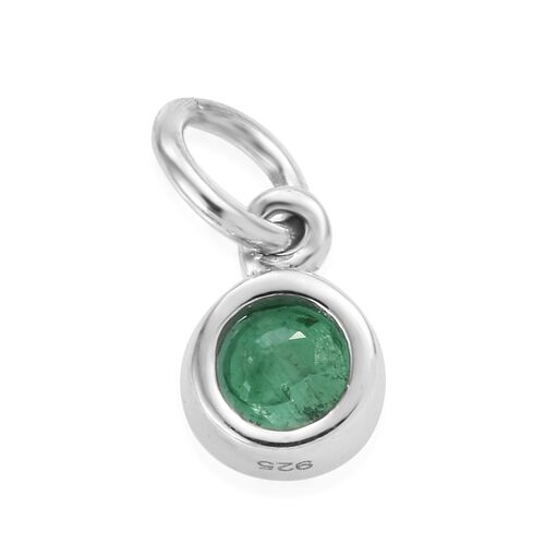 Brazilian Emerald (Rnd 5 mm) Charm in Platinum Overlay Sterling Silver 0.50 Ct.