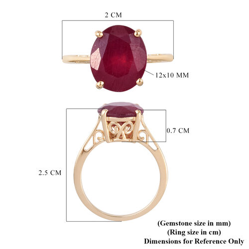 9K Yellow Gold AA African Ruby Solitaire Ring 6.85 Ct.