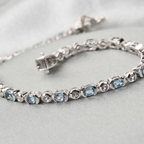 Santamaria Aquamarine and Natural Cambodian Zircon Line Bracelet (Size 7.5) in Platinum Overlay Sterling Silver 3.75 Ct, Silver wt. 10.20 Gms