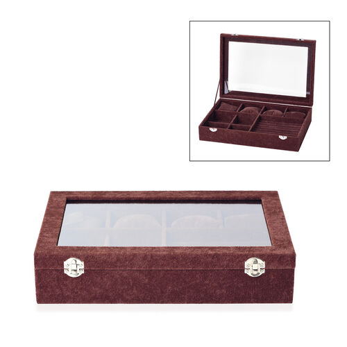 Iced Velvet Jewellery Box (Size 35x24.3x7.6 Cm) with Different Sections and Glass Window - Brown