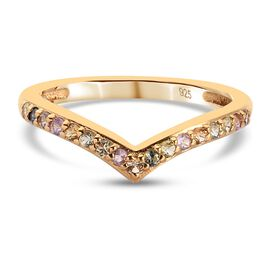 Multi gemstones Fancy Ring in 14K Gold Overlay Sterling Silver 0.37 ct  0.370  Ct.