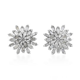 Diamond (Bgt and Rnd) Snowflake Stud Earrings (with Push Back) Platinum Overlay Sterling Silver 0.34