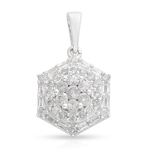 9K White Gold SGL Certified Diamond (Rnd) (I3/G-H) Pendant 0.750 Ct.