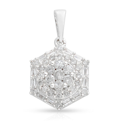 0.75 Ct Cluster Floral Diamond Pendant in 9K White Gold SGL Certified
