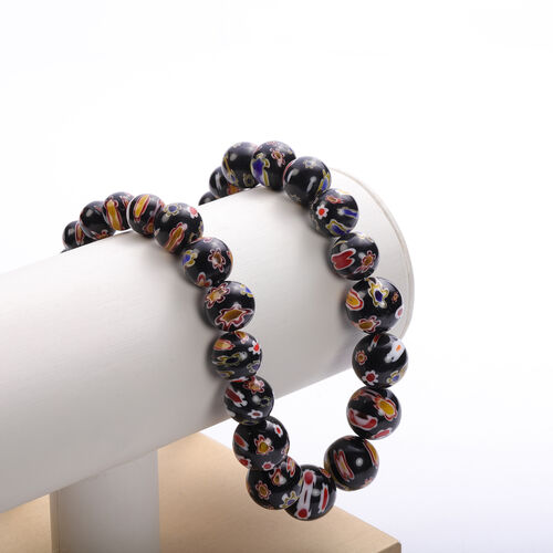 3 Piece Set -  Black Murano Style  Glass Necklace (Size 20 with Magnetic Lock), Stretchable Bracelet (Size 6.5) and Hook Earrings