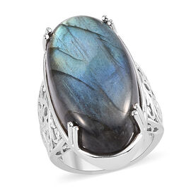 Labradorite Solitaire Ring with Magnet in Silver Tone 28.75 Ct.