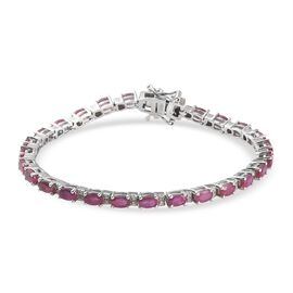 African Ruby (FF) and Natural Cambodian Zircon Bracelet in Platinum Overlay Sterling Silver 11.51 Ct, Silver wt 12.09 Gms
