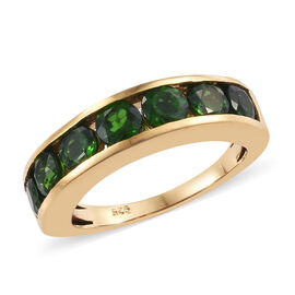 Russian Diopside (Rnd 4 mm) Channel Set Half Eternity Band Ring in 14K Gold Overlay Sterling Silver