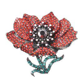 TJC Poppy Design Multi Colour Austrian Crystal Poppy Brooch in Black Tone
