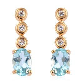 Paraiba Apatite (Ovl), Natural Cambodian Zircon Earrings (with Push Back) in 14K Gold Overlay Sterling Silver 1.150 Ct.
