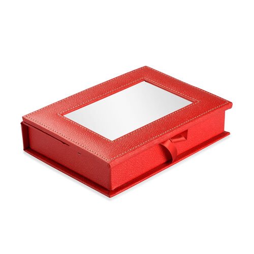 Handcrafted Eco Leatherette Red Colour Jewellery Box with Photo Frame on Top (Photo Size 15X10 Cm)