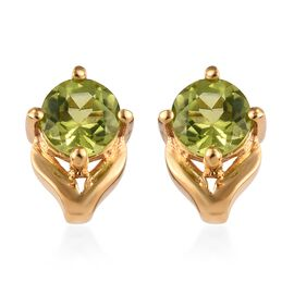 Chinese Peridot (1.00 Ct) 14K Gold Overlay Sterling Silver Earring  1.000  Ct.
