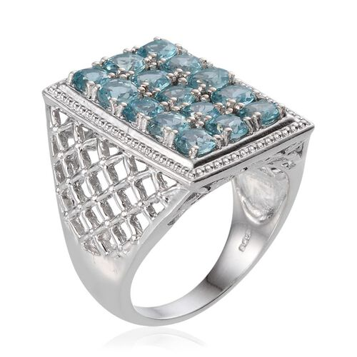 AA Paraibe Apatite (Rnd) Ring in Platinum Overlay Sterling Silver 3.750 Ct.