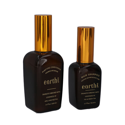 Shungite Enriched Earthi  Amla and Reetha Purifying Hair Conditioner with complementary Green Tea and Fig Shampoo (100ml+50ml)