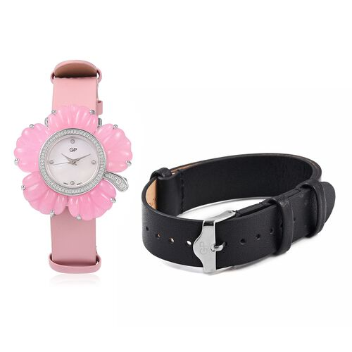 GP Swiss Movement Water Resistant Carved Pink Jade and Simulated Diamond Sterling Silver Watch with