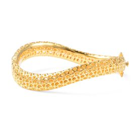 RACHEL GALLEY Lattice Wave Bangle in Yellow Gold Plated Silver 29.40 grams 7 Inch