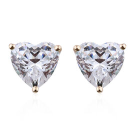 J Francis - 9K Yellow Gold (Hrt 8 mm) Heart Stud Earrings (with Push Back) Made with SWAROVSKI ZIRCONIA