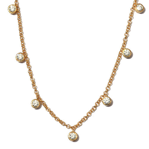 J Francis 14K Gold Overlay Sterling Silver Station Necklace (Size 18) Made with SWAROVSKI ZIRCONIA,