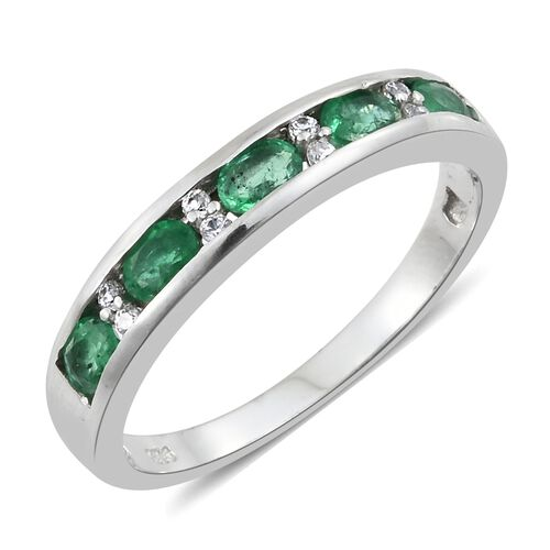 1 Carat AAA Premium Santa Terezinha Emerald and Cambodian Zircon Half Eternity Ring in Silver