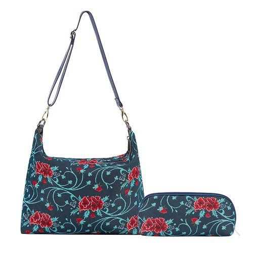 Signare Tapestry Frida Kahlo Carnation Collection - Slouch Poppy Design Shoulder Bag (32x31x26cm)
