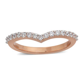 ILIANA 0.30 Ct Diamond Wishbone Ring in 18K Rose Gold 4.30 Grams