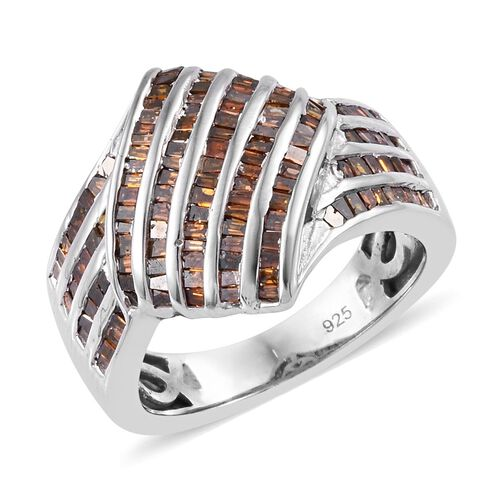 Red Diamond (Bgt) Ring in Platinum Overlay Sterling Silver 1.00 Ct, Silver wt 5.80 Gms, Number of Diamonds 142