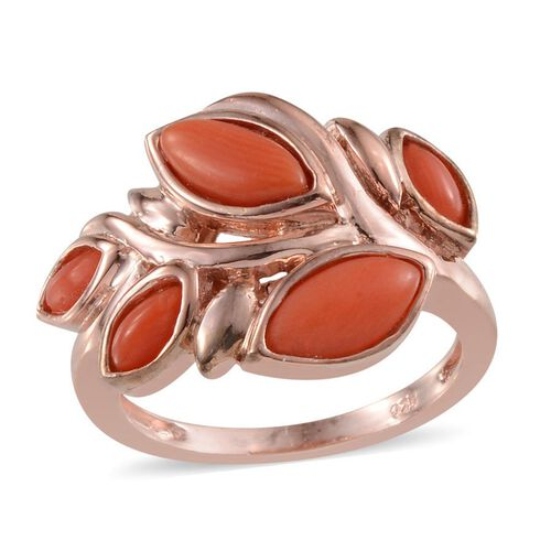 Mediterranean Coral (1.25 Ct) Sterling Silver Ring  1.250  Ct.