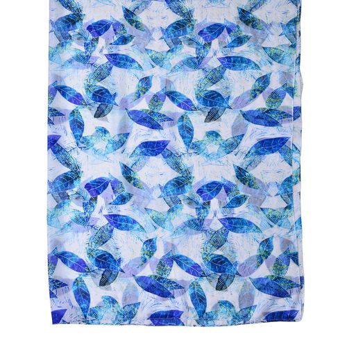 100% Mulberry Silk Blue, Green and White Colour Leaves Pattern Scarf (Size 180X110 Cm)