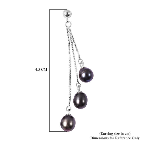 Freshwater Peacock Pearl (Rnd) Dangle Earrings (with Push Back) in Rhodium Overlay Sterling Silver