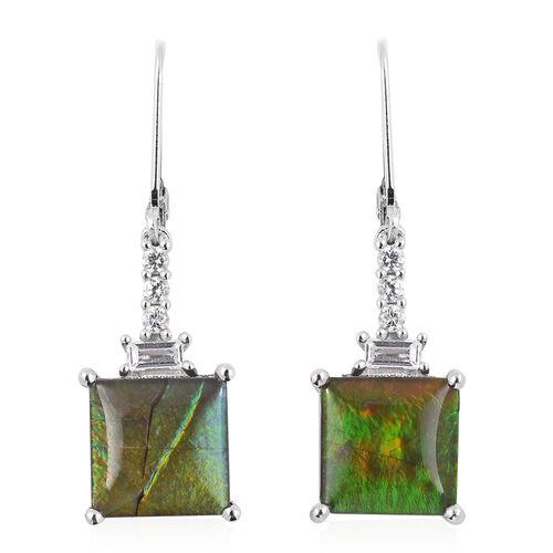 7.1 Ct AA Canadian Ammolite and Multi Gemstones Drop Earrings in Sterling Silver 4.7 Grams