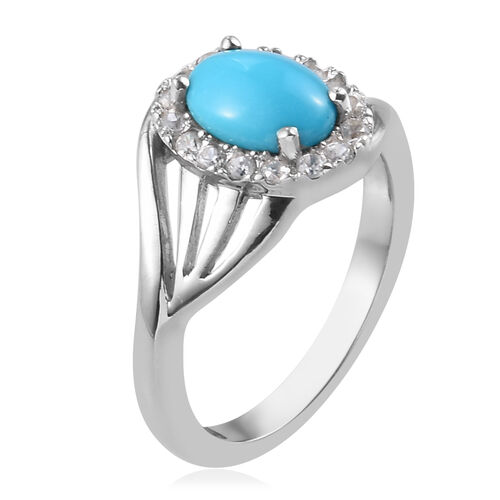 AA Arizona Sleeping Beauty Turquoise (Ovl 8x6mm), Natural Cambodian Zircon Ring in Platinum Overlay Sterling Silver 1.35 Ct.