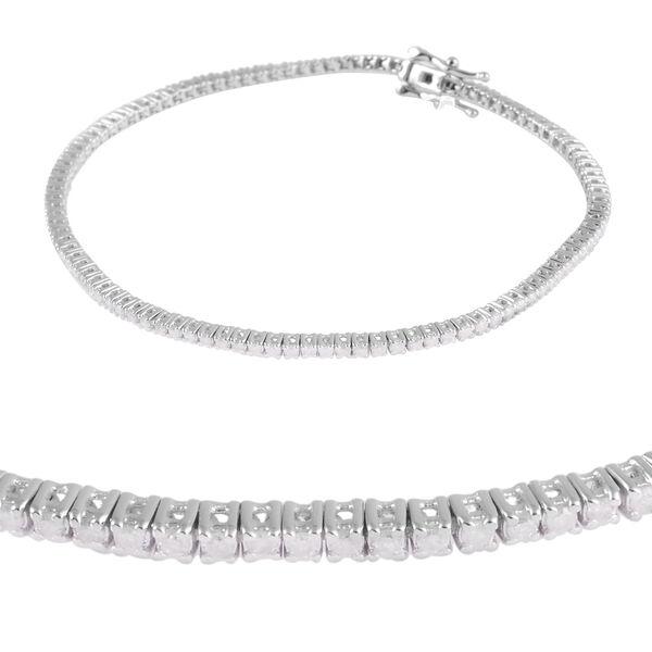 9K White Gold Diamond (Rnd) (I4 / G-H) Bracelet (Size 7) 1.00 Ct, Gold wt 5.20 Gms
