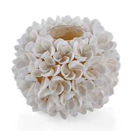 Bali Collection - White Seashell Candle Holder with Frangipani Flower Pattern
