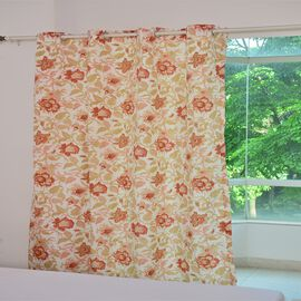 Red, Cream and Multi Colour Floral and Leaves Pattern Double Side Curtain (Size 230X167 Cm)