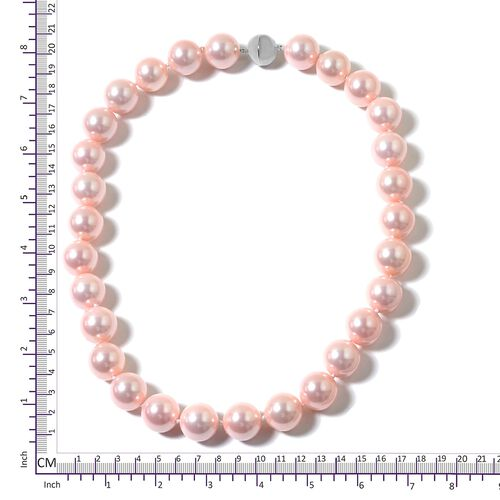 Peach Shell Pearl Ball (15-17mm) Necklace (Size 20) with Magnetic Clasp in  Rhodium Plated Sterling Silver