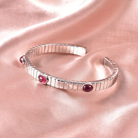 GP Tubo Gas Collection- African Ruby and Blue Sapphire Bangle (Size 7.5) in Rhodium Overlay Sterling Silver 3.98 Ct, Silver wt. 31.10 Gms