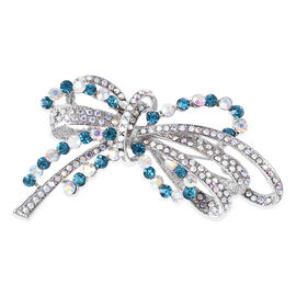 Blue Austrian Crystal (Rnd) and Simulated Mystic White Crystal Bowknot Brooch or Pendant