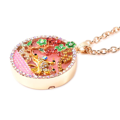Pink Quartzite, Simulated Emerald and Multi Colour Austrian Crystal Enamelled Floral vine and Crane Pendant with Chain (Size 24 with 3 inch Extender) in Yellow Gold Tone 100.00 Ct.