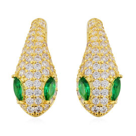 Simulated Diopside (Mrq), Simulated Diamond Serpentine Design Hoop Earrings (with Clasp) in Yellow G