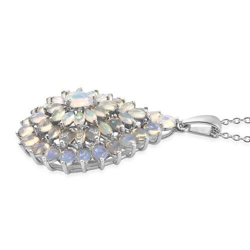Ethiopian Welo Opal (Pear) Pendant with Chain in Platinum Overlay Sterling Silver 4.000 Ct. Silver wt 6.80 Gms.