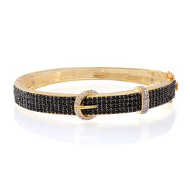 Black Spinel , White Topaz Bangle in 14K Gold Overlay Sterling Silver 5.00 ct  5.000  Ct.