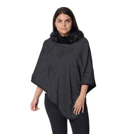 Close Out Deal - Zig-zag Pattern Winter Poncho with Faux Fur Collar (Size 83x97 Cm) - Black