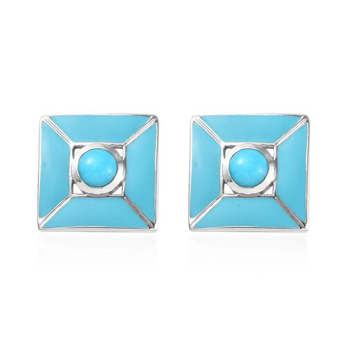 Arizona Sleeping Beauty Turquoise Stud Earrings (with Push Back) in Platinum Overlay Sterling Silver