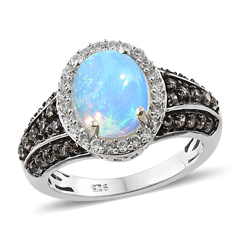 Ethiopian Welo Opal (Ovl 10x8 mm), Chocolate Zircon and Natural Cambodian Zircon Ring in Platinum an