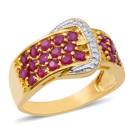 Burmese Ruby (Rnd), Natural White Cambodian Zircon Buckle Ring in 14K Gold Overlay Sterling Silver 2