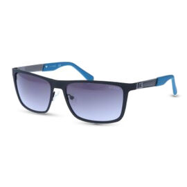 GUESS Rectangle Black Sunglasses with Grey Lenses and Blue Tips
